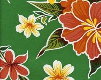 Hibiscus Flower on Green OilCloth Yardage