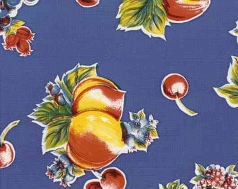 Pears and Apples Blue OilCloth Yardage