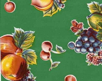 Pears and Apples Green OilCloth Yardage