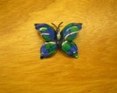 Vintage Blue Green Enamel Butterfly Pin