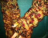 Knitted Heavy Cabled Multi Brown Colored Arm Warmers
