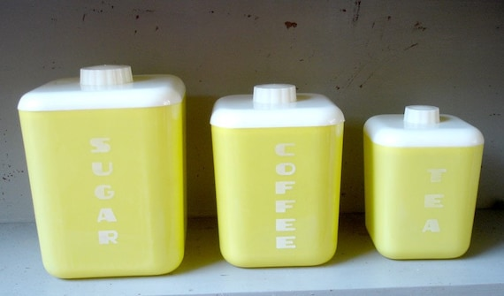 Vintage Canisters Yellow Lustro Ware Plastic Kitchen 1950's RESERVED FOR KELLY