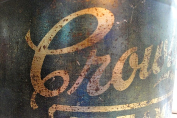 Vintage Can Advertising Green Metal Tin Brass Letter