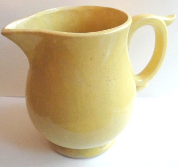 Vintage McCoy Pottery Yellow Pitcher Vase with Handle