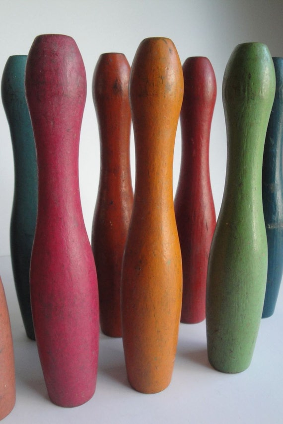 Vintage Bowling Pins Skittles Wooden Colored Primitive