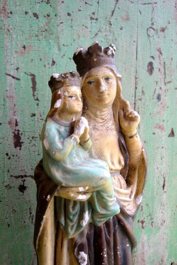 Vintage Statue St. Anne Religious Plaster Chalk Italy