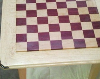 Chess tables, maple and purpleheart with Wenge splinded corners