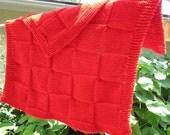 Knit throw blanket/lap acrylic yarn (red)