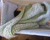 Knit baby blanket  acrylic yarn (green multi)