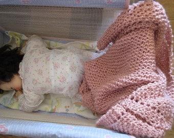 knit organic cotton baby blanket (pink)