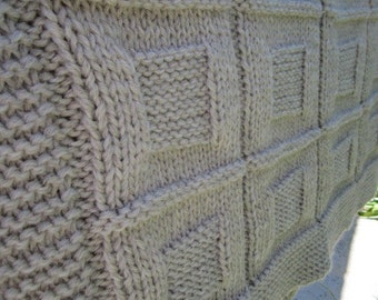 Knit Baby Blanket, wool baby Blanket (grey color)