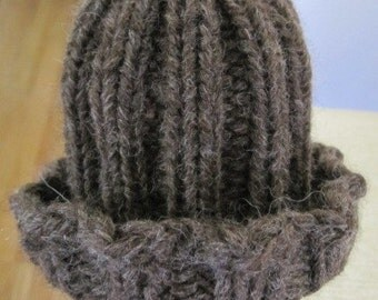 baby hat, knit hat preemie (brown wool)
