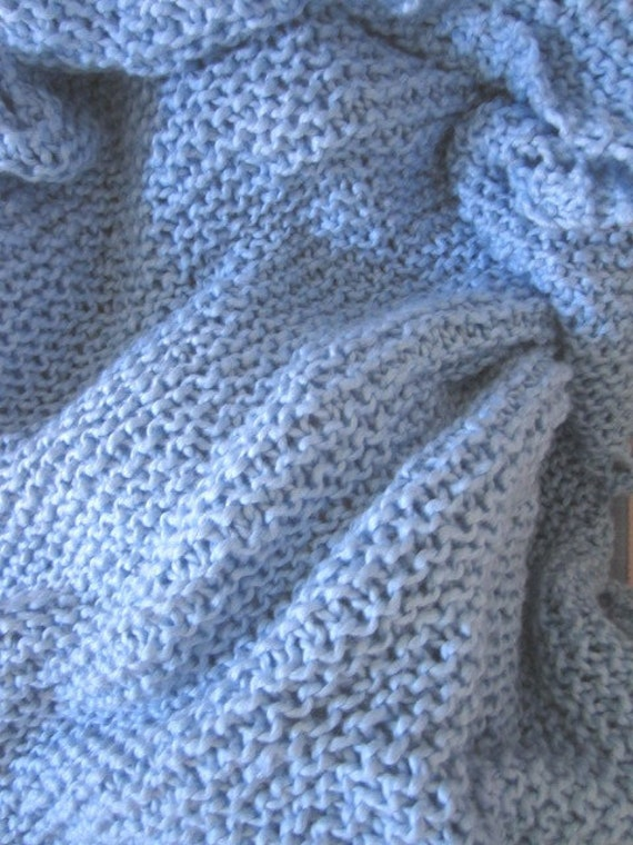 Price reduction Knit organic baby blanket, cotton baby blanket  (blue)