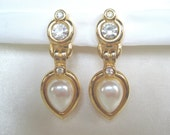 FREE SHIPPING BRIDAL  Earrings  Clear Crystal with Pearl Gold Tone   Padded Clip Ons