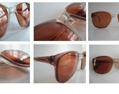 Vintage Oversized Eye wear Brown Fade with Reinforced Metal Arms Retro Frames