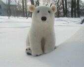 Handmade Needle Felted Wool Polar Bear White Animal