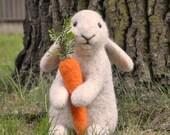 Handmade Needle Felted Wool Rabbit Bunny