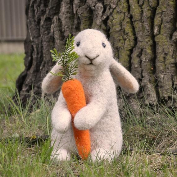 Handmade Needle Felted Wool Rabbit Bunny 25 cm