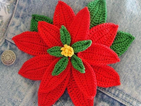 Crochet Poinsettia 3 D Flower