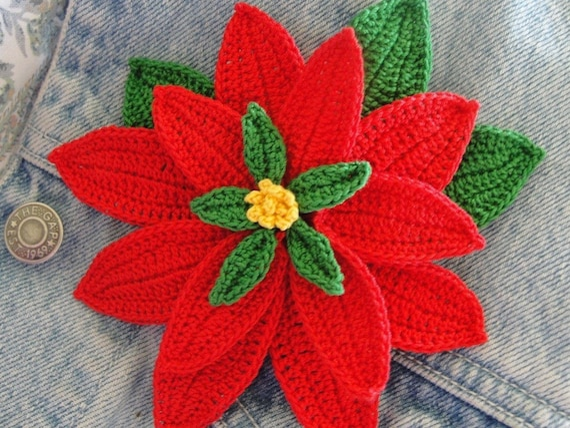 Crochet Poinsettia 3 D Flower by rubeania on Etsy