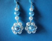 White and Blue Flower Earrings