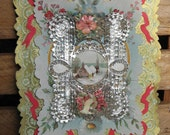 SALE Victorian Valentine Card, Silver and Gold, 1900s 50% OFF