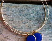 Gold Filled Hoops with Blue Onyx Stones- Made to Order