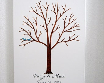 Thumbprint Tree on Canvas with Ink Pads - Hand Painted - Custom Orders Only - 125 - 175 Guests  - Wedding Guest Tree  -  Large
