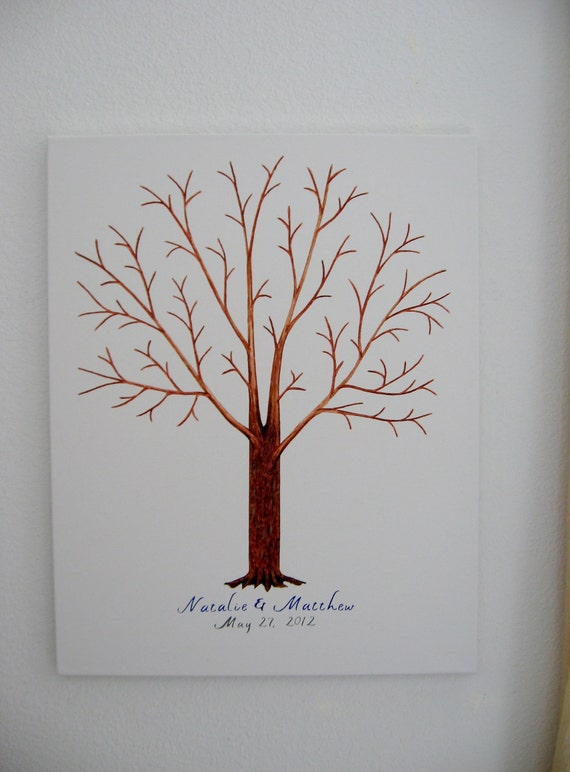 Wedding Guest Thumbprint Tree on Canvas with Ink Pads - Custom Orders Only - Wedding Guest Tree - 175 - 200 Plus Guests