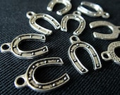 Destash (12) Horseshoe Charms - cowboys, horses, rodeo - for pendants, jewelry making, crafts, scrapbooking