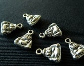 Destash (10) Tiny Buddha Charms - for pendants, jewelry making, crafts, scrapbooking