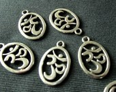 Destash (6) Large Oval Ohm Charm Pendants - for pendants, jewelry making, crafts, scrapbooking