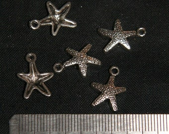 Destash (10) Starfish Charms - for pendants, jewelry making, crafts, scrapbooking