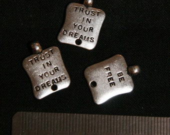 Jewellery Supplies (3) Trust In Your Dreams/ Be Free Charm - for pendants, jewelry making, crafts, scrapbooking