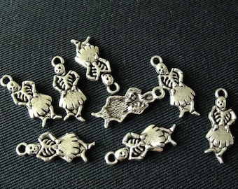 Destash (8) Day of the Dead Catrina Skeleton Charms - for pendants, jewelry making, crafts, scrapbooking