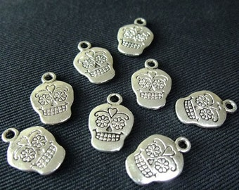 Destash (8) Day of the Dead Sugar Skull Charms - for pendants, jewelry making, crafts, scrapbooking