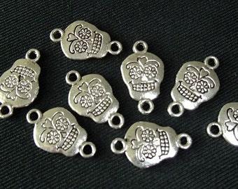 Destash (8) Sugar Skull Connectors - for pendants, jewelry making, crafts, scrapbooking