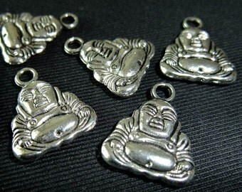 Destash (4) Smiling Buddha Charms - for pendants, jewelry making, crafts, scrapbooking