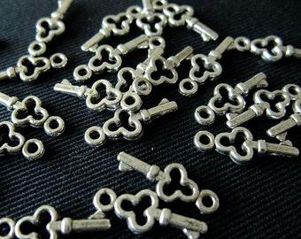 BULK (pkg/50) Mini Skeleton Key Charms - for pendants, jewelry making, crafts, scrapbooking