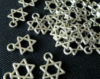 Destash (20) Tiny Star of David Charms - for pendants, jewelry making, crafts, scrapbooking