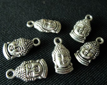 Destash (8) Buddha Head Charms - for pendants, jewelry making, crafts, scrapbooking