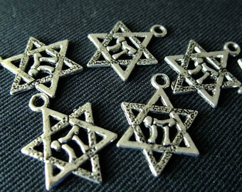 Destash (10) Star of David Charms - for pendants, jewelry making, crafts, scrapbooking