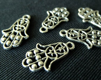 Destash (7) Hamsa Hand Charms - for pendants, jewelry making, crafts, scrapbooking