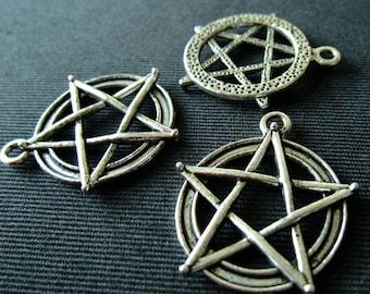 Destash (3) Pentagram Pendants - for pendants, jewelry making, crafts, scrapbooking