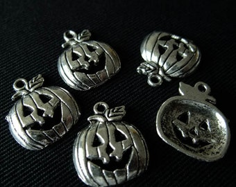 Destash (8) Jack-o-Lantern Charms Pendants - for pendants, jewelry making, crafts, scrapbooking