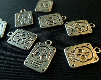 Destash (8) Day of the Dead Skull Square - for pendants, jewelry making, crafts, scrapbooking