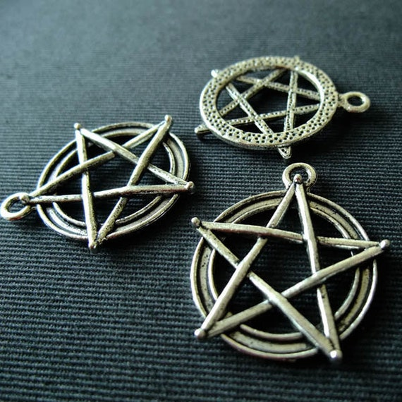 Destash (3) Pentagram Pendants - for pendants, jewelry making, crafts, scrapbooking