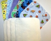 9 THICK Double Layer  (Flannel -Cotton Fleece)  Washable Reusable Baby Wipes