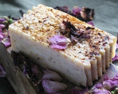 Organic Hibiscus Rose Soap made with Wild Primroses - TRUE Handmade Soap NOT from a base- 4-5 oz. Bar