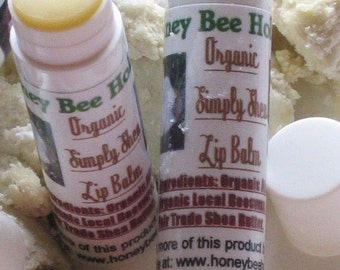Organic Simply Shea Lip Balm made with Fair Trade Shea butter twist tube - unscented unflavored - sensitive lip balm